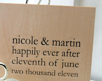 "Wedding Wood Guest book / Album / Notebook (9"" x 6"") - Happily Ever After - Custom Names and Date"