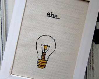 "Linocut print / Screenprint - 5"" x 7"" aha light bulb fabric print - Yellow"