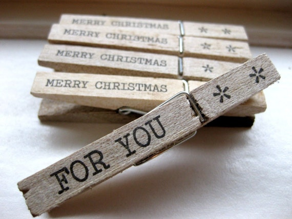 5 Christmas Clothespins / Pegs - For You