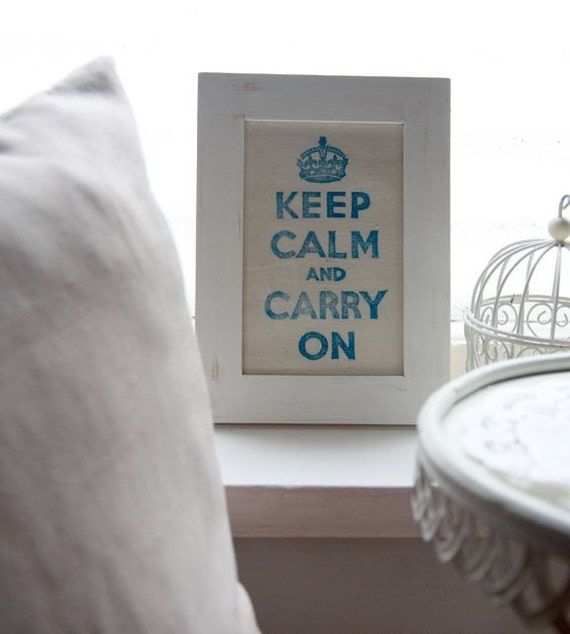 Framed Keep Calm And Carry On Fabric Print - Blue