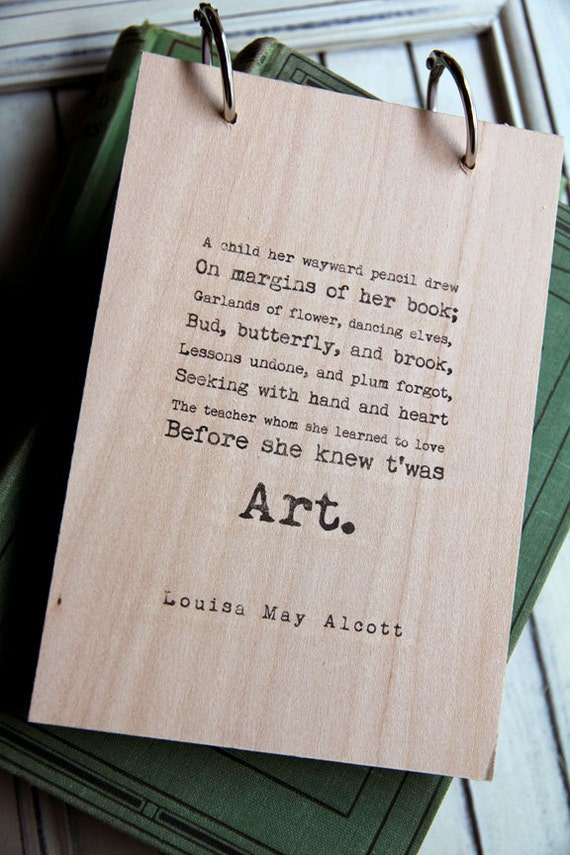 Wood Sketchbook / Notebook - Art quote