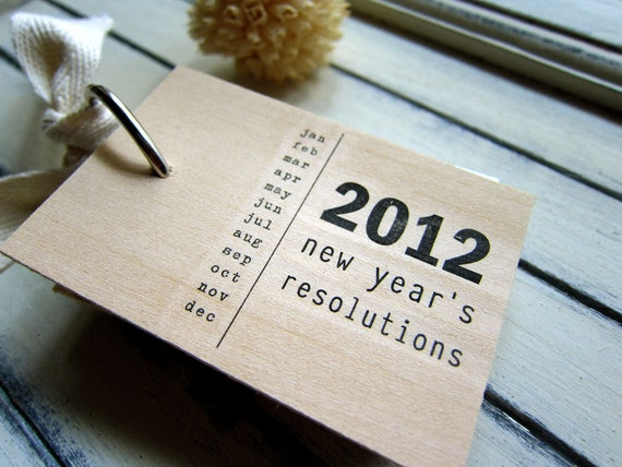 "2012 New Years Resolutions notepad - wood mini notepad (3"" x 2"")"