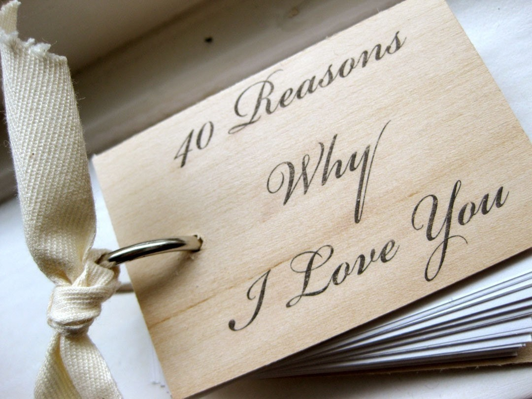 I Love You Wood Notepad / Notebook 40 Reasons Why I Love You