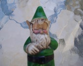Little Vintage green Gnome nik nac  collectable ceramic gnome