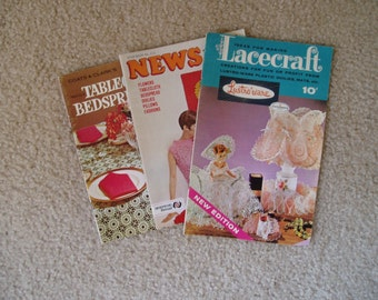 Vintage Crochet  and Craft Books/ lot of 3