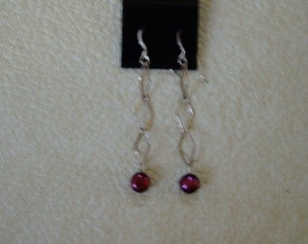 Handmade Black Cherry fresh water pearl and sterling silver   earrings