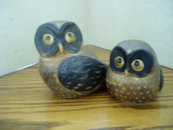 Set Of 2 Owls Ceramic Owls Home Decor Owls By Marvamost On
