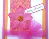 Elegant Birthday card for female magenta and mango
