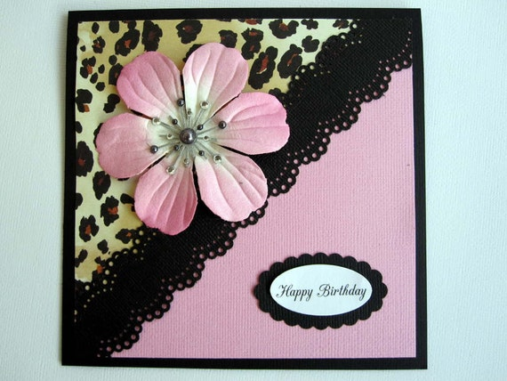 Happy Birthday leopard print card for woman or female can be – Leopard Print Birthday Card
