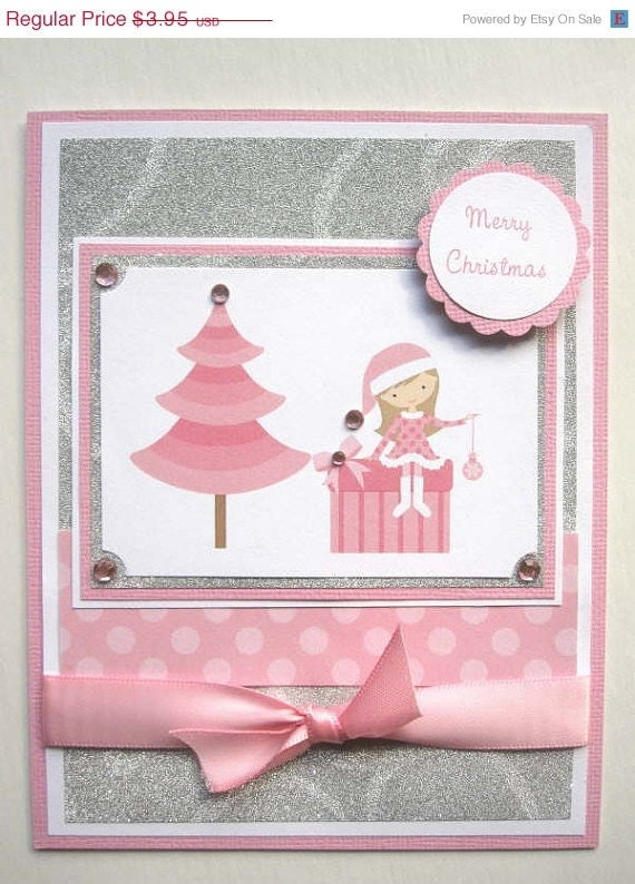 25% OFF SALE Handmade Christmas card for little girl can be PERSONALIZED