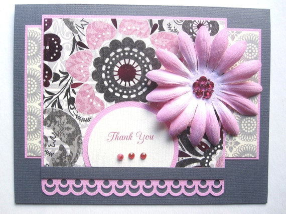 Handmade Thank You card daisy and foiled paper