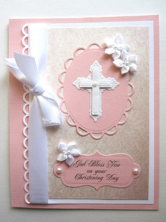 Handmade Christening or Communion card for girl can be PERSONALIZED