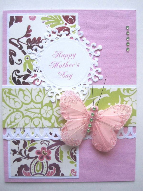 Handmade Mother's Day card butterfly pink and lime green