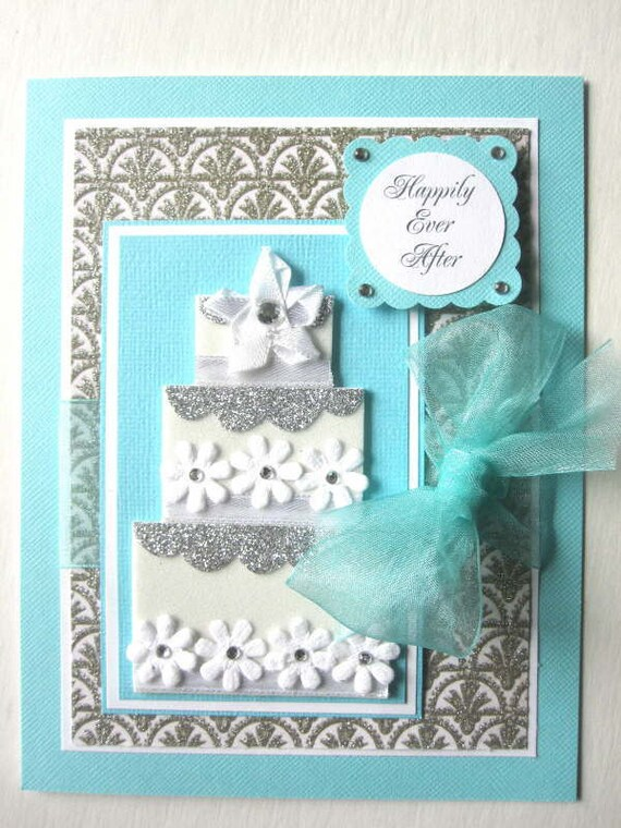 Elegant Wedding card glittered paper and wedding cake can be PERSONALIZED