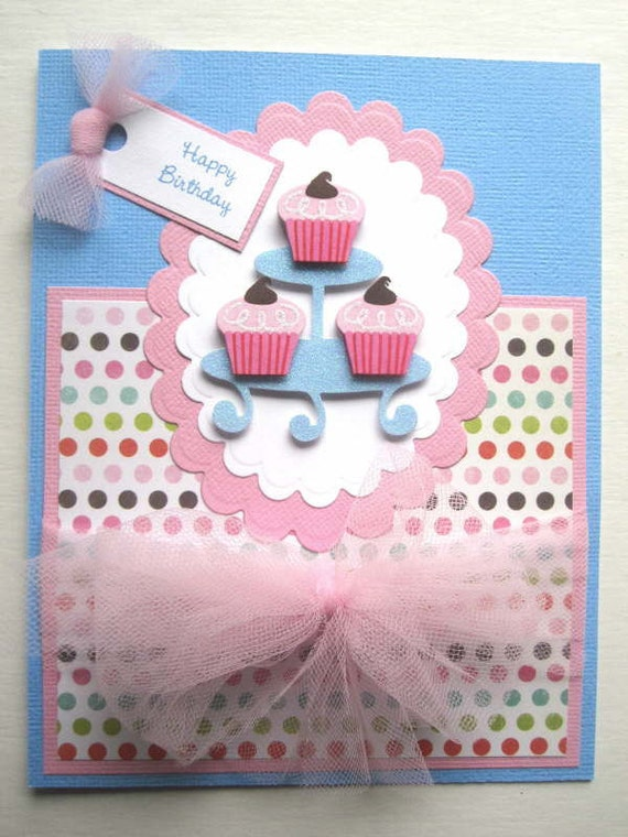 Handmade Birthday card Cupcake tower can be PERSONALIZED