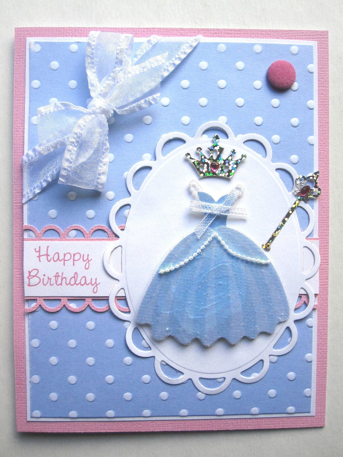 handmade princess birthday card for young girl, Birthday card