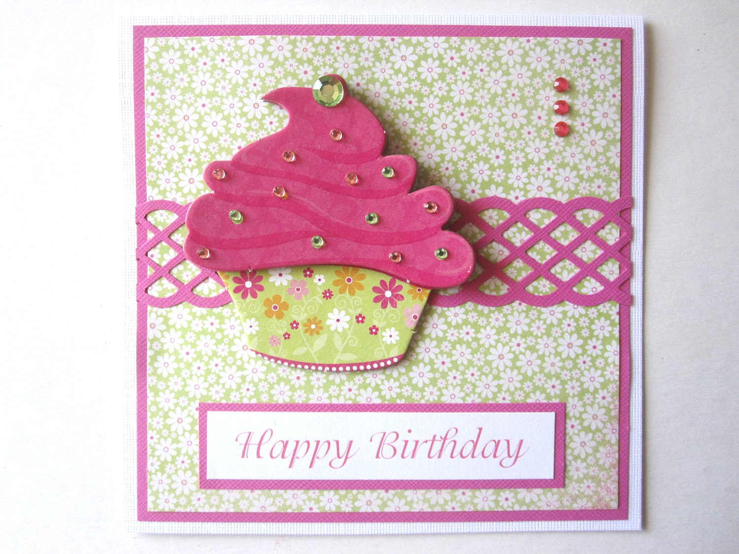 handmade cupcake birthday card can be personalized, Birthday card