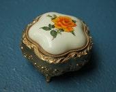 Vintage Orange Rose Metal Trinket Box