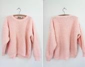 Vintage Chunky Pastel Pink Knit Sweater