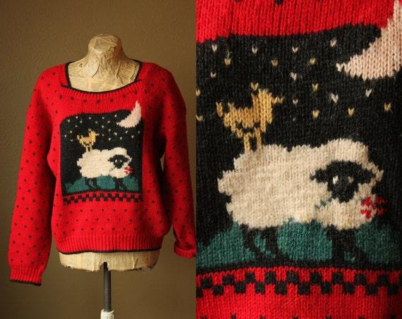 Vintage Red Polka Dot Sheep Sweater Small/Medium