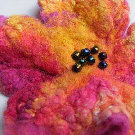 Handmade Magenta and Orange Felt and Silk Flower Brooch \/ Pin \/ Corsage
