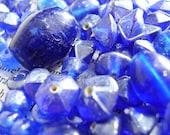 Big blue glass bead mix