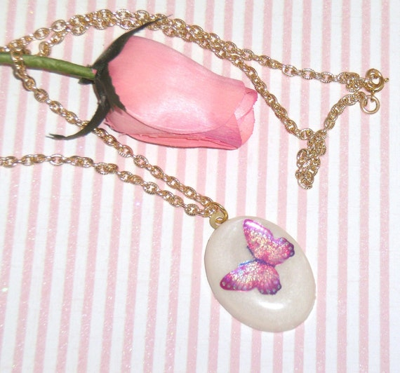 Pink Butterfly Necklace PIF Sale
