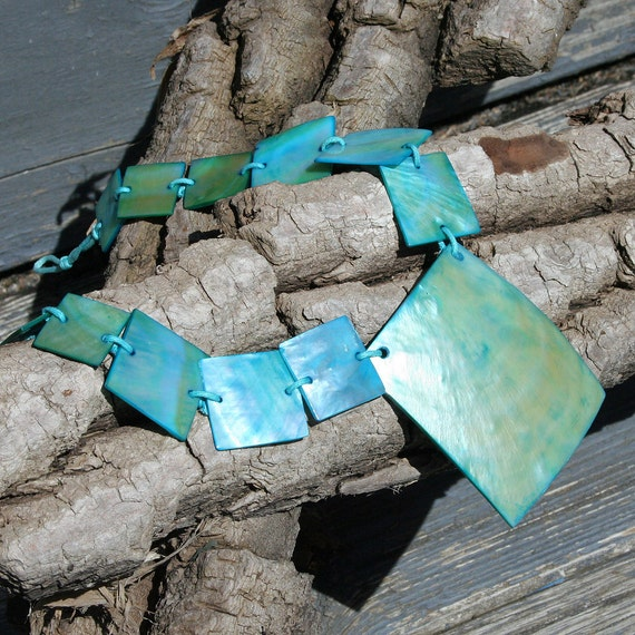 vintage opalescent TIFFANY BLUE Mother Of Pearl square shell collar necklace beach sea wedding party prom bridal gift