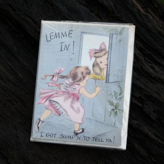 vintage 1950s THANK YOU shower baby wedding card set whimsical illustrations 5 piece envelope set