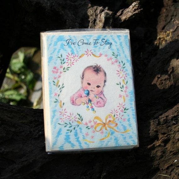 vintage 1950s NEW BABY announcement birth card set whimsical infant illustrations 5 piece envelope set