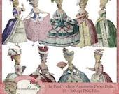 NEW Le Pouf Marie Antoinette Paper Dolls, Collage Sheet