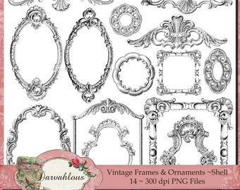 Vintage Frames and Ornaments - Shell PNG Files