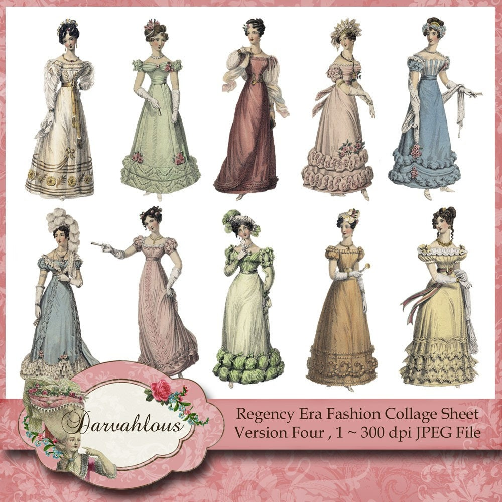 Regency Era Fashions Collage Sheet Four By Darvahlous On Etsy