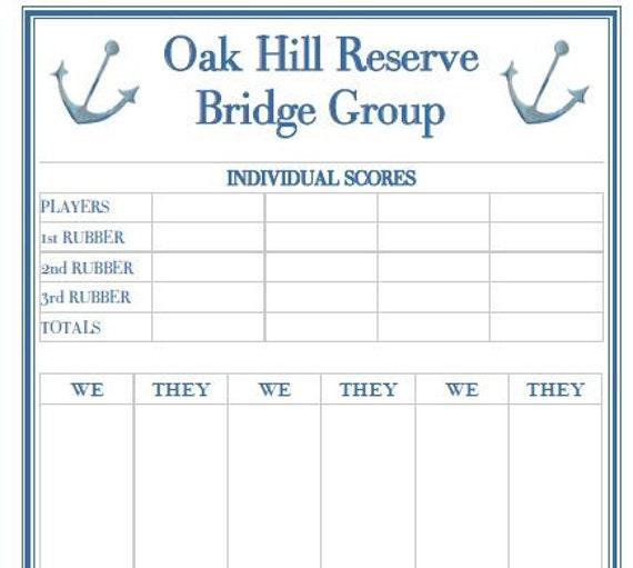 Bridge Score Pad Personalized – Canasta Score Sheet