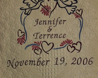 Heart/Doves Personalized Embroidered Wedding Throw Blanket