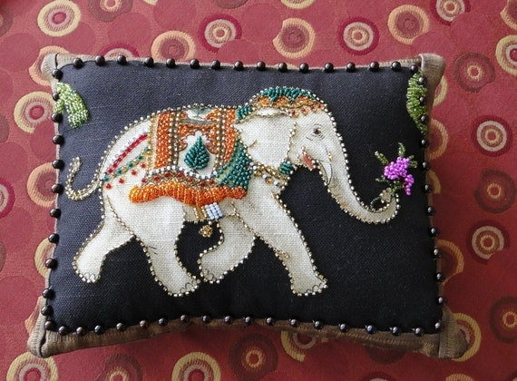 Multi-Color Beaded Elephant with Palm Tree Applique
