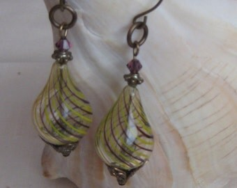 TAFFETA-Lampwork and Brass Earring