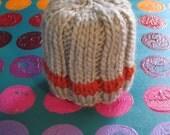 Blazin' Orange stripe Hat -- Light gray and orange striped ribbed beanie