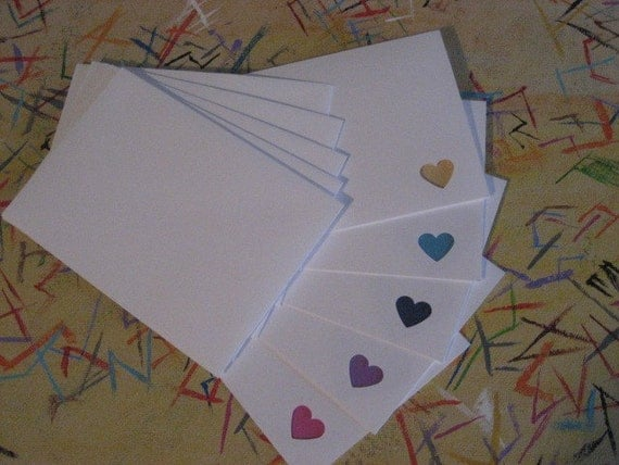 All you need is love - set of 5 white cards with peek - a - boo window and colorful hearts