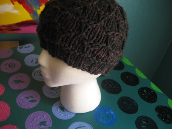 Charcoal gray honeycomb pattern knit hat
