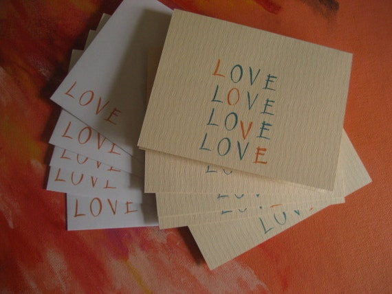Love is all you need - set of 5 cards with L O V E stamped in blue and orange