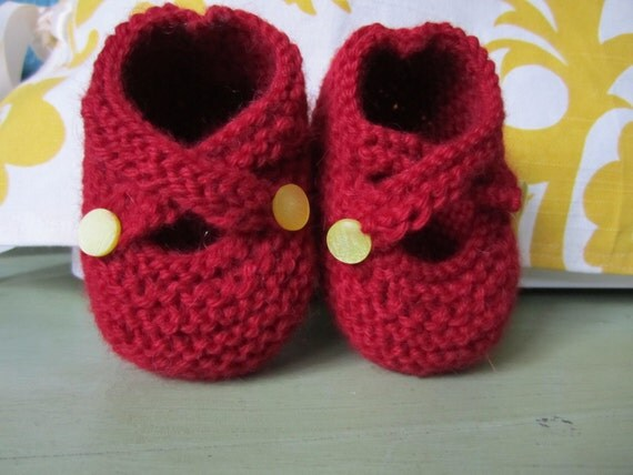 Cute as a button -- red baby booties hand knit