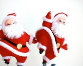 Cha Cha Cha at the North Pole . . . Vintage Flocked Santas on a Stick