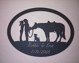 Metal Cowboy Couple and Horse sign, Perfect Wedding/Anniversary Gift, Metal sign, custom metal sign, horse metal sign
