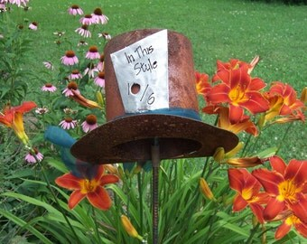 The Mad Hatter Alice In Wonderland Inspired, Metal Garden Art, Metal Lawn  Ornament,