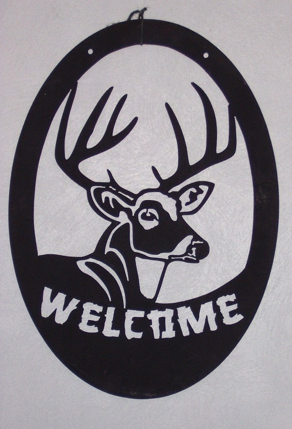 Deer Welcome Sign, buck welcome sign, deer sign, metal welcome sign, cabin welcome sign, hunting sign
