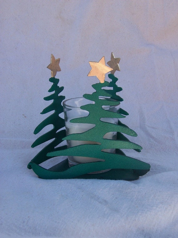 Metal christmas tree votive candle holder gift