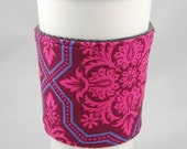 SALE Pink and Purple Damask Cup Sleeve