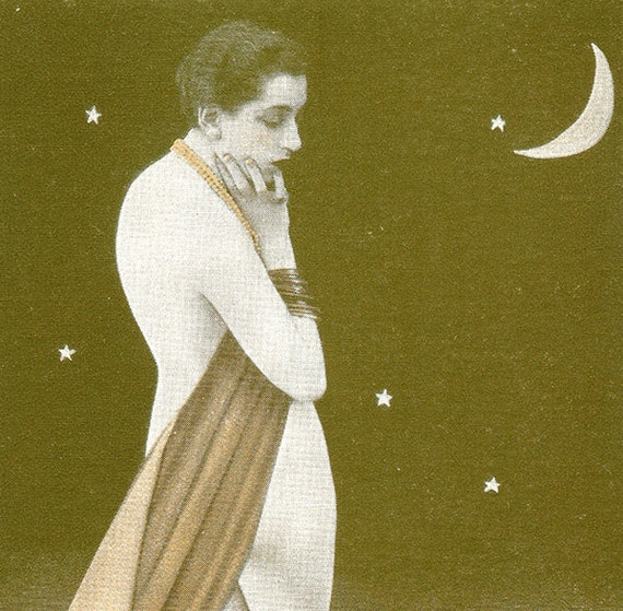 Girl with Crescent Moon Vintage Risque Arcade Card