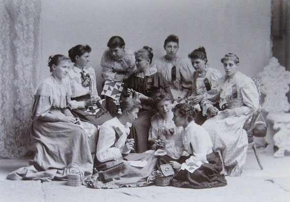 Vintage Quilting Bee Sewing Circle Photograph